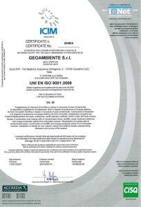 Geoambiente Srl ISO 9001:2008